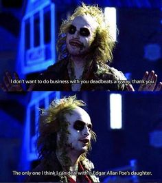 802 Likes, 6 Comments - Horror Beetlejuice Quotes, Beetlejuice Movie, Tim Burton Characters, Tim Burton Films, Sleepy Hollow Johnny Depp, Horror Villains, Great Comedies, Johnny Depp Movies, Michael Keaton