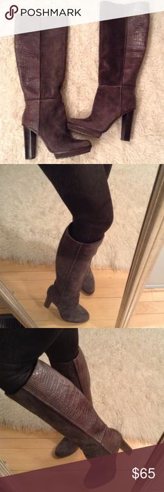 Gorgeous suede/leather knee high boots NWOT! Never worn; super cute and unique; neutral gray tone will work with anything BCBG Shoes