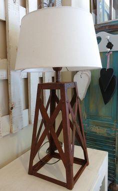 lampara molino en hierro y pantalla de lino