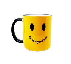 """""""The less you know""""..... """"the happier you'll be""""! You don't REALLY want to know what I'm up to. This design was hand-drawn with colored pencils and digitally edited before being printed and permanently pressed with dye-sublimation into a nice ceramic 11oz mug in my Spokane, WA home studio."""