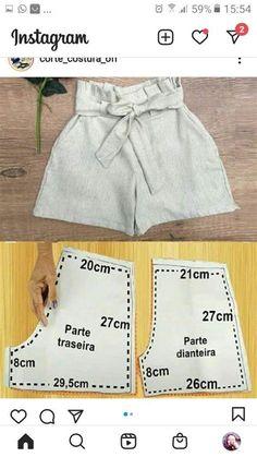 Linen Dress Pattern, T Shirt Sewing Pattern, Dress Sewing Patterns, Baby Girl Dress Patterns, Baby Clothes Patterns, Clothing Patterns, Sewing Clothes, Diy Clothes, Como Fazer Short