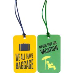 Flight 001's Tag Your Bag luggage tag set. Includes 2 plastic, rectangular shaped tags with fun travel phrases. The back of each tag features a place for contact info that can be filled in using permanent marker.