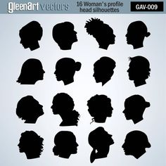 50% Off Sale - 16 Women profile silhouettes / Female head profiles / clipart / Vector graphic / Black and white / INSTANT DOWNLOAD