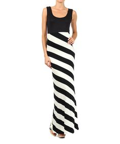 Take a look at the Black & White Stripe Sleeveless Maxi Dress on #zulily today!