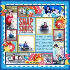 Awesome Summer - Heat Wave Fun by Jady Day Studio Single 28 Template - Lots of Snapshots 4 by Cindy Schneider DJB Baby Bump font by Darcy Baldwin Lobster 2 font Beach Scrapbook Layouts, Scrapbook Designs, Scrapbook Sketches, Baby Scrapbook, Travel Scrapbook, Scrapbooking Layouts, Scrapbook Cards, Digital Scrapbooking, 6 Photos