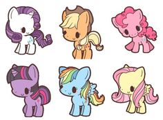 Preorder Chibi Mane 6 Pattern Package by NerdyKnitterDesigns