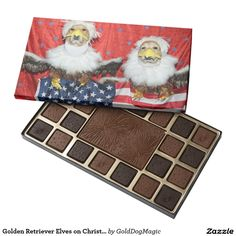 Golden Retriever Elves on Christmas Train 45 Piece Box Of Chocolates