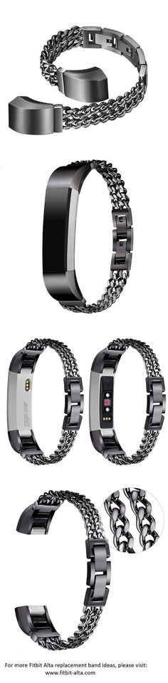 bayite Fitbit Alta HR and Alta Replacement Bands Stainless Steel Chain Bands Metal Bracelet - Black Dual