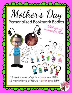 Great editable classroom materials @teachersherpa Mother's Day is a special time to create that oh, so perfect gift. Moms are going to LOVE these personalized bookmarks with their child's picture as the head. 12 variations of girls and 12 of boys, each with a special MOM saying or thanks. This is a gift Moms will adore and use every day as they mark the pages in the books they read.