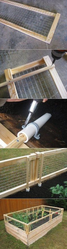 How to Make Raised Garden Bed with Removable Pest Gate. Protects your garden from munching critters, but can be removed for easier access.