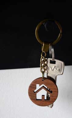 Housewarming Favor Wooden Engraved House Key Chain Key Ring