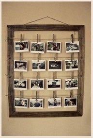 Get an old picture frame and attach wire accross the front. Print pictures and hang them on! You've a homemade picture collage.