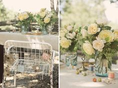 Image detail for -Old World Vintage Wedding decor- love the roses in mason jars