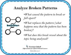 New! Envision Gifted. Analyze Broken Patterns