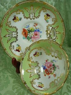 HAMMERSLEY CABINET TEA CUP AND SAUCER MINTY GREEN H.P. FLORALS HEAVY GILT c1890