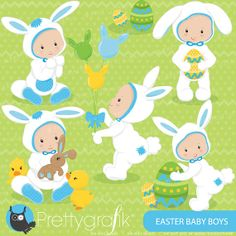easter babies clipart commercial use vector by Prettygrafikdesign, $4.95