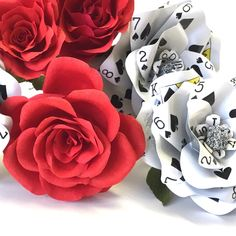 3 Poker Flowers Made from Playing Cards Make a Paper Flower Rose for Your Wedding Bouquet, Valentine Gift or Casino Party Decor by ThePaintedPetaler on Etsy https://www.etsy.com/listing/264699494/3-poker-flowers-made-from-playing-cards
