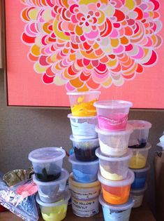 This picture of Rachel Castle's studio just makes me want to paint!  So happy!