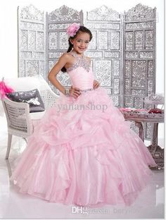 Long Dresses For Girls Hot Sale High Quality Halter Beaded Applique Ball Gown Organza Flower Girl Gownes Toddler Beauty Pageant Dresses From Beryldress888, $78.7| Dhgate.Com
