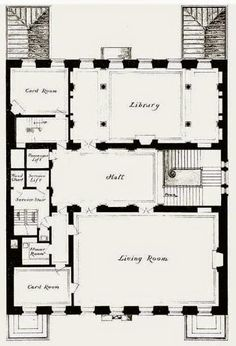 1927 - MARSHALL FIELD RESIDENCE 4-6-8 East 70th Street, New York City. 2nd floor plan. Built by Marshall Field III and wife Evelyn 1925-27.  Designed by David Adler. The facade of the house is 63 ft wide, and the garden went back to 69th Street. They divorced only three years after completion. The house was sold in 1937 and demolished.