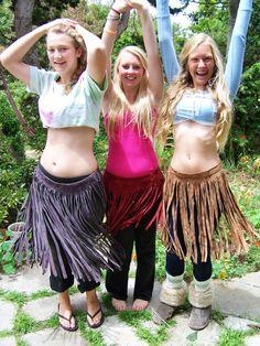 LONG Leather Fringe Over skirt Brown Native Revival TRIBAL suede Boho skirt size M / L on Etsy, $44.00