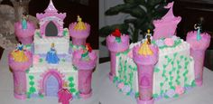 Disney Princess' Castle - This cake was made from a kit that I ordered online (pink plastic parts and figures)... Believe me, it was not as easy to put together as it looked like it would be.  Buttercream base coating, door, vines, leaves with Royal Icing roses.  The top section is actually a picture frame that had the birthday girl's picture in it.  This cake was for my niece's birthday.