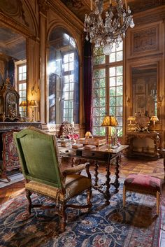 classically French, desk, mirror walls,