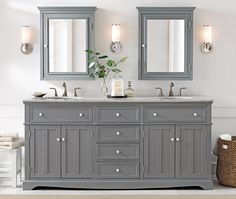 Home Decorators Collection Fremont 72 in. D Double Bath Vanity in Grey with Granite Vanity Top in Grey 2943900270 - The Home Depot Condo Bathroom, Bathroom Vanity Cabinets, Family Bathroom, Bathroom Renos, Vanity Sink, Bath Vanities, Bathroom Ideas, Bathrooms, Bathroom Makeovers