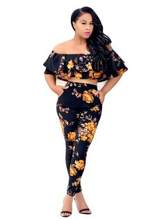 e6a40aad1637 2Pcs Fashion Women Jumpsuit Romper Floral Ruffled Crop Top Skinny Pants  Casual Bodycon Jumpsuit