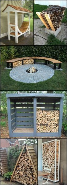 Great ideas for Fire Wood Storage.