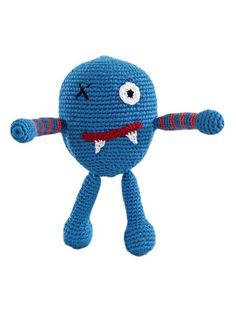 Scary monster rattle  $19.00 USD   -Rattle -Cute  -Ethical shopping  -Hand knitted and crocheted -Fair trade -Country of origin: Bangladesh