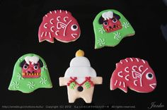 クリスマスの立体クッキーとお正月のアイシングクッキーの画像 | ちょっとの工夫でかわいいケーキ Japanese New Year things,,,,