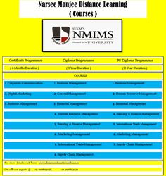Narsee Monjee University Is One Of The Top Rated University For Distance Learning Courses That Offers Various Diploma, Certificate, PG Diploma Courses. If you are a working professional, housewife or a fresh graduate who is looking to boost up your career by opting in for distance learning courses, then here is a list of distance learning courses Fees offered by Narsee Monjee. To know more visit here: http://www.distanceeducationdelhi.co.in/narsee-monjee-distance-learning/