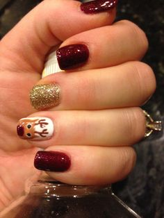 My cute Rudolph the red nose reindeer nails!