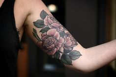 Colored vintage roses done by Alice Carrier @ Wonderland Tattoo in Portland, Oregon