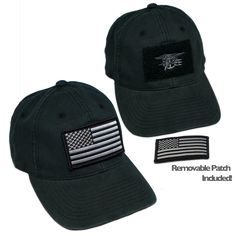 89a4602c4205c Black Flex Fit Velcro Hat with Trident. American Flag ...