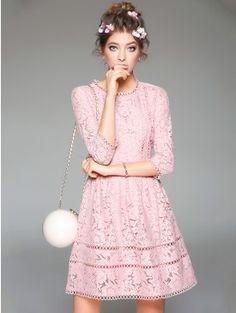 Pink Lace Round Neck 3/4 Sleeve Mini Princess Dress