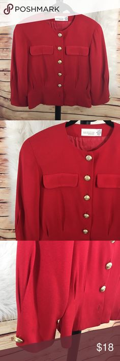 Nordstrom red vintage button down top (preloved) Size: 2 Brand: Nordstrom Petite Focus Color: red with gold buttons Details: buttons are tarnished vintage, shoulder pads   Condition: preloved: missing bottom button • Need measurements? Just ask. ✨Build a bundle with all your likes and use the automatic bundle discount -or- make me an offer✨ Nordstrom Jackets & Coats Blazers