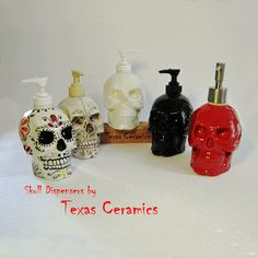 Black Skull Pump Dispenser Bottle Ceramic Halloween Horror Decor