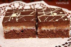 Čokoládovo-kokosové rezy - Recept European Dishes, Czech Recipes, Pastry Cake, Sweet Cakes, Desert Recipes, Sweet Recipes, Cupcake Cakes, Food To Make, Sweet Treats
