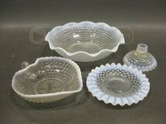 shopgoodwill.com: 4 Pieces of White Fenton Moonstone Hobnail Glass