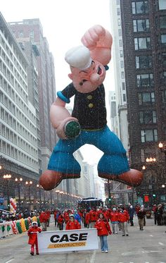In 2007, Popeye worked his way up the parade route through the cold and snow to celebrate the Thanksgiving Holiday at the McDonald's Thanksgiving Parade.