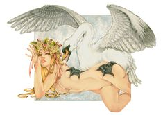 Leda and the Swan by Zoe-Lacchei.deviantart.com on @deviantART