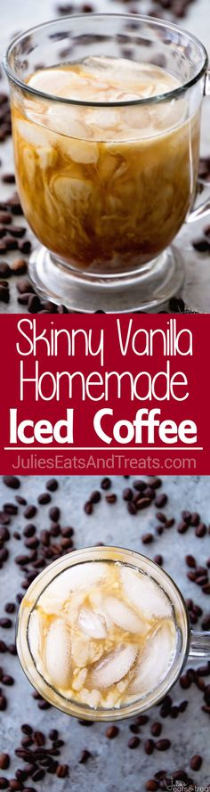 Skinny Vanilla Homemade Iced Coffee ~ Skip the Expensive Coffee Shop Iced Coffee and Make Your Own Cold Brewed Coffee at Home! Plus it's on the Lighter Side!