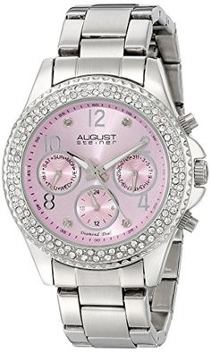 August Steiner Womens AS8136LP Silver Multifunction Quartz Watch with Light Pink Dial and Silver Bracelet * You can find out more details at the link of the image.