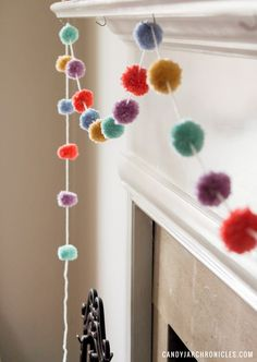 Easter Pom Pom Garland is a simple DIY craft using yarn that you can make this weekend. It& add a little cheer to your holiday decor or even add a sweet pop of colour, now that spring has sprung, to your home. Diy Crafts Using Yarn, Easy Diy Crafts, Craft Stick Crafts, Creative Crafts, Pom Pom Garland, Diy Garland, Pom Poms, Sunday School Kids, Easter Crafts For Kids