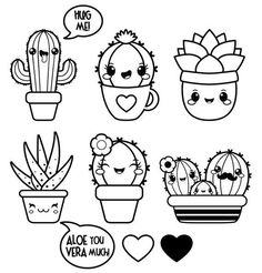 Informations About Kawaii clipart, succulent clipart, Valentine clipart, kawaii cactus clipart, kawa Cute Easy Drawings, Kawaii Drawings, Doodle Drawings, Disney Drawings, Pencil Drawings, Pencil Art, Hipster Drawings, Unique Drawings, Doodles Kawaii