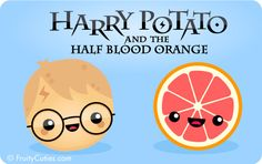 Harry Potato and the Half Blood Orange - Cute jokes with Kawaii Fruit and Vegetable cartoons Slytherin, Hogwarts, Cartoon Potato, Kawaii Potato, Grilling Gifts, Silly Jokes, Summer Barbecue, Harry Potter Love, All Is Well