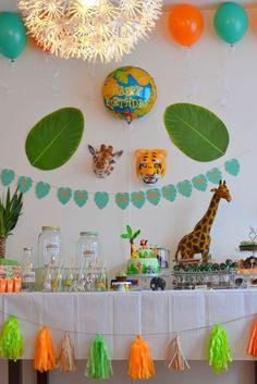 Le 1er anniversaire de Gabriel sur le thème des animaux de la jungle