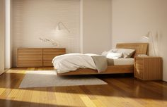 Urbana modern wood bedroom by Mobican Furniture. Optional storage in the headboard and storage drawers under the bed. Available in several finishes over teak, oak or walnut. Made in Quebec, Canada. Wood Bedroom, Modern Bedroom, Bedroom Furniture, Home Furniture, Furniture Design, Bedroom Classic, Bedroom Bed, Platform Bed With Storage, Wood Platform Bed